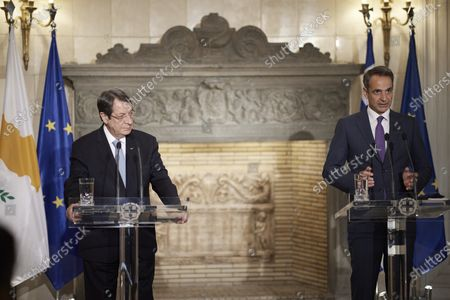 Stock Picture of Greek Prime Minister Kyriakos Mitsotakis, right, and Cypriot President Nikos Anastasiadis make statements following their meeting in Athens, . The meeting took place one ahead of a trilateral meeting between Greece, Jordan and Cyprus