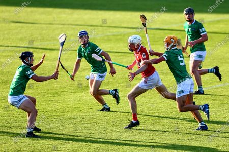 Limerick vs Cork. Cork's Eoin O'Leary is tackled by David Fitzgerald of Limerick