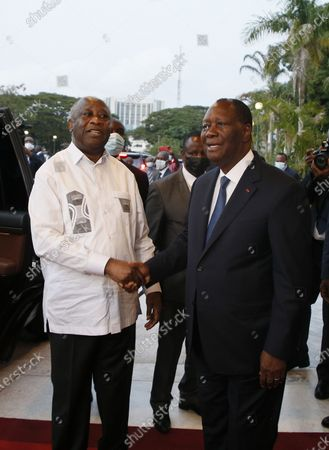 Editorial picture of Ivorian President Ouattara and former Ivorian President Gbagbo meeting, Abidjan, Ivory Coast - 27 Jul 2021
