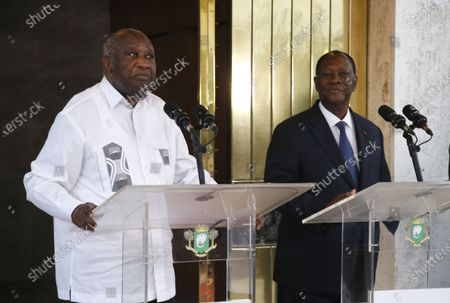 Former Ivorian head of state Laurent Gbagbo speaks to journalists during a meeting with Ivorian president Alassane Ouattara (R) at the presidential palace in Abidjan, Cote d'Ivoire, 27 July 2021. Former Ivorian President Laurent Gbagbo, acquitted by the International Criminal Court (ICC) on 31 March 2021, arrived in Abidjan on 17 June 2021. This meeting was announced last week by the government spokesperson at the from a Council of Ministers.