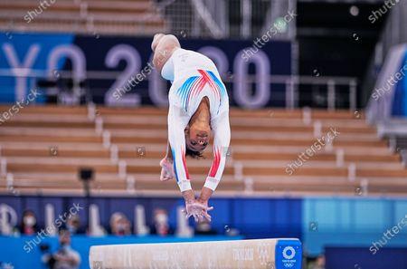 Stock Image of Melanie De Jesus Dos Santos of France during women's  Artistic  Gymnastics team final at the Olympics at Ariake Gymnastics Centre, Tokyo, Japan on July 27, 2021.