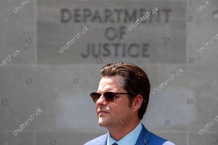 Republican Representative Matt Gaetz from Florida looks on during a press conference outside the Justice Department about the treatment of who they called 'January 6th prisoners' in Washington, DC, USA, 27 July, 2021. The Republicans Representatives Marjorie Taylor Greene from Arizona, Matt Gaetz from Florida, Paul Gosar from Arizona, Louie Gohmert from Texas and others, have propagated conspiracy theories about who was behind the January 6th insurrection. Across town at the Cannon House Office Building, members of the Select Committee to Investigate the January 6th Attack on the US Capitol held their first hearing today, hearing from members of the US Capitol Police and the Metropolitan Police Department who tried to protect the Capitol against insurrectionists.