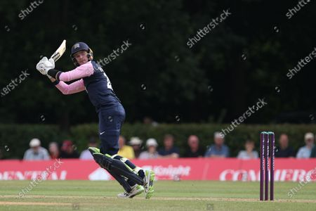Stock Image of Peter Handscomb of Middlesex bats during the Royal London One Day Cup match between Middlesex County Cricket Club and Durham County Cricket Club at Cobden Hill, Radlett on Tuesday 27th July 2021.