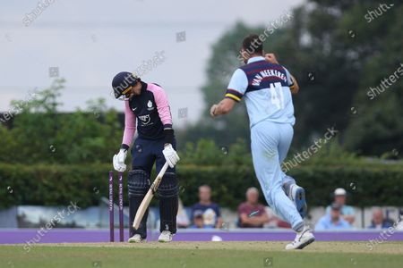 Peter Handscomb of Middlesex is bowled by Paul van Meekeren of Durham during the Royal London One Day Cup match between Middlesex County Cricket Club and Durham County Cricket Club at Cobden Hill, Radlett on Tuesday 27th July 2021.