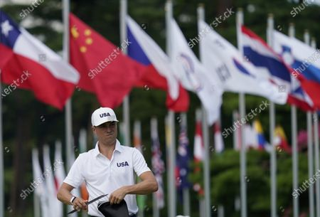 United States' Justin Thomas attends to a practice session a day before starting the men's golf event at the 2020 Summer Olympics, at the Kasumigaseki Country Club in Kawagoe, Japan