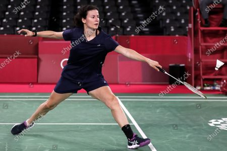 Linda Zetchiri of Bulgaria in action in her women's single group play stage match against Mia Blichfeldt of Denmark during the Badminton events of the Tokyo 2020 Olympic Games at the Musashino Forest Sport Plaza in Tokyo, Japan, 28 July 2021.