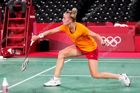 Stock Picture of Mia Blichfeldt of Denmark in action against Linda Zetchiri of Bulgaria in their Women's Single group play stage match during the Badminton events of the Tokyo 2020 Olympic Games at the Musashino Forest Sport Plaza in Tokyo, Japan, 28 July 2021.