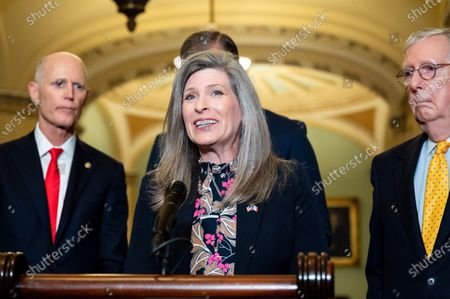 Stock Photo of U.S. Senator Joni Ernst (R-IA) speaks at a press conference of the Senate Republican Leadership.