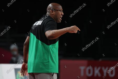 Coach Michael Brown of Nigeria reacts during the Men's Basketball preliminary round Group B match between Nigeria and Germany at the Tokyo 2020 Olympic Games at the Saitama Super Arena in Saitama, Japan, 28 July 2021.