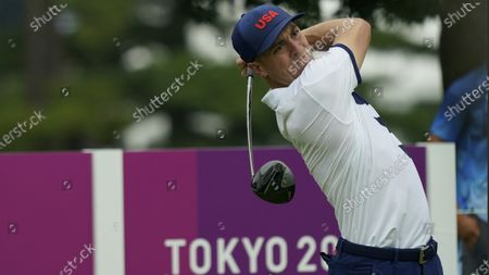 United States' Justin Thomas competes during the first round of the men's golf event at the 2020 Summer Olympics, at the Kasumigaseki Country Club in Kawagoe, Japan