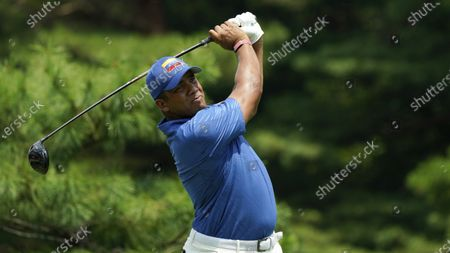 Venezuela's Jhonattan Vegas competes during the first round of the men's golf event at the 2020 Summer Olympics, at the Kasumigaseki Country Club in Kawagoe, Japan