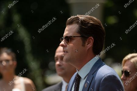 Editorial photo of Marjorie Taylor Greene, Matt Gaetz, Paul Gosar And Other House Republicans Hold Press Conference, Washington Dc, United States - 27 Jul 2021