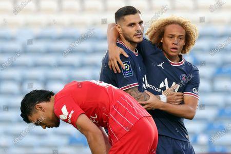 Mauro Icardi of Paris Saint Germain and Xavi Simons of Paris Saint Germain celebrate a goal during the pre-season friendly match between Sevilla CF and Paris Saint Germain at Algarve Stadium in Faro, Portugal.