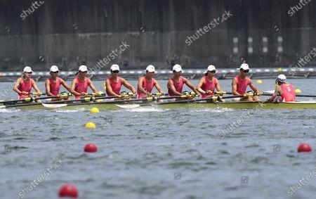 (210728) - TOKYO, July 28, 2021 (Xinhua) - Wang Zifeng, Wang Yuwei, Xu Fei, Miao Tian, Zhang Min, Ju Rui, Li Jingjing, Guo Linlin, Zhang Dechang of Team China compete during rowing Women's Eight Repechage at the Tokyo 2020 Olympic Games in Tokyo, Japan, on July 28, 2021.