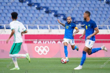Captain Daniel Alves (13 Brazil) goes forward during the Menâ€s Olympic Football Tournament Tokyo 2020 match between Saudi Arabia vs Brazil at Saitama Stadium, Saitama, Japan