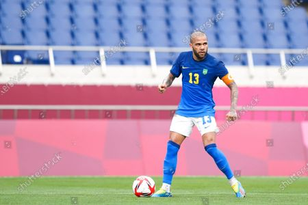 Captain Daniel Alves (13 Brazil) controls the ball (action) during the Men's Olympic Football Tournament Tokyo 2020 match between Saudi Arabia vs Brazil at Saitama Stadium, Saitama, Japan