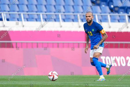 Captain Daniel Alves (13 Brazil) goes forward during the Men's Olympic Football Tournament Tokyo 2020 match between Saudi Arabia vs Brazil at Saitama Stadium, Saitama, Japan