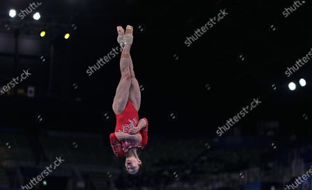 Stock Image of Jin Zhang of China during women's artistic gymnastics qualfication at the Olympics at Ariake Gymnastics Centre, Tokyo, Japan