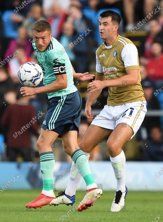 Jamie Vardy of Leicester City and Jack Wakely of Wycombe Wanderers