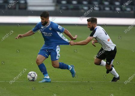 Derby County's Graeme Shinnie holds bar Real Betis's Nabil Fekir