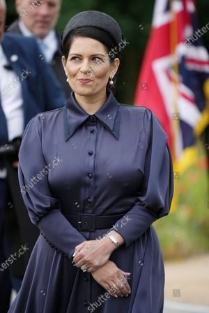 Britain's Home Secretary Priti Patel during the unveiling of the UK Police Memorial at the National Memorial Arboretum at Alrewas, England, . The memorial commemorates all personnel who have lost their lives since the 1749 formation of the original police force, the Bow Street Runners