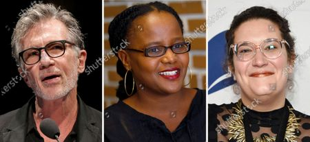 """This combination photo shows authors Michael Cunningham, from left, at """"La Milanesiana"""" cultural event, in Milan, Italy, on June 29, 2017, Edwidge Danticat on Oct. 18, 2010, in the Little Haiti neighborhood of Miami and Carmen Maria Machado at the 68th National Book Awards Ceremony and Benefit Dinner on Nov. 15, 2017, in New York. They are among the prize-winning authors contributing stories to a collection co-sponsored by Manhattan's Symphony Space performing arts center and its nationally aired """"Selected Shorts"""" program. Algonquin Books is teaming with Symphony Space on """"Small Odysseys: Selected Shorts Presents 35 New Stories,"""" which features previously unreleased work by Cunningham, Danticat and Machado, along with Lauren Groff, Dave Eggers, Elizabeth Strout, Lisa Ko and others. Neil Gaiman is writing a foreword for """"Small Odysseys,"""" which comes out March 22, 2022. """"We cannot wait to get these gorgeous stories out into the world,"""" Algonquin publisher Betsy Gleick said in a statement"""