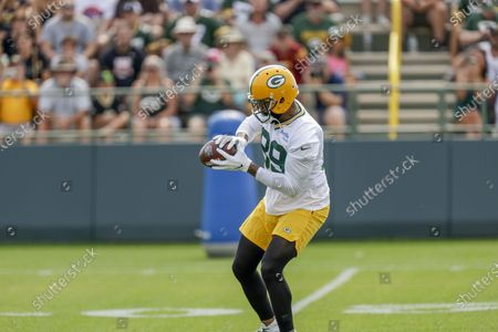 Stock Photo of Green Bay Packers' tight end Marcedes Lewis during NFL football training camp, in Green Bay, Wis