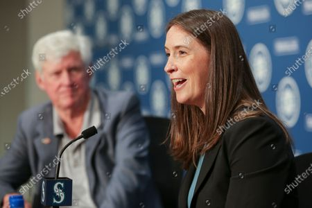 Catie Griggs is introduced as the Seattle Mariners new president of business operations by John Stanton, the team's chairman and managing partner, during a baseball a press conference on