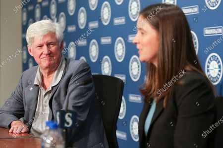 Catie Griggs is introduced as the Seattle Mariners' new president of business operations by John Stanton, the team's chairman and managing partner, during a baseball press conference in Seattle on