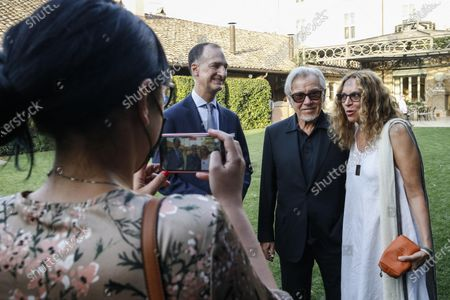 US actor Harvey Keitel (2-R) and his wife Daphna Kastner (R) attend a meeting in his honor organized at the American Embassy in Rome, Italy, 28 July 2021. Keitel is in Italy where he received a award at the Filming Italy Festival on 23 July.