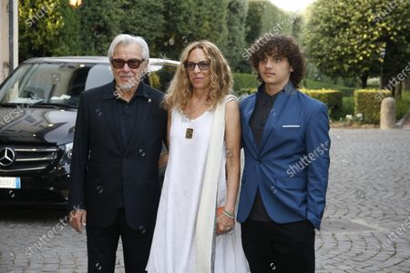 US actor Harvey Keitel (L), his wife Daphna Kastner (C) and his son Roman attend a meeting in his honor organized at the American Embassy in Rome, Italy, 28 July 2021. Keitel is in Italy where he received a award at the Filming Italy Festival on 23 July.