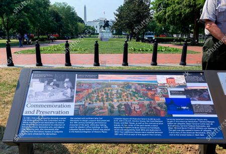 New historical marker that focuses on former first lady Jacqueline Kennedy, who formed the White House Historical Association in 1961, is displayed at the northern end of Lafayette Park on . The White House Historical Association on Wednesday unveiled three new historical markers at the northern end of Lafayette Park