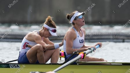 Megan Kalmoe and Tracy Eisser of the United States react after competing in the women's rowing pair final at the 2020 Summer Olympics, in Tokyo, Japan