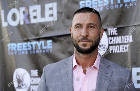 """Pablo Schreiber, a cast member in """"Lorelei,"""" poses at the Los Angeles premiere of the film at the Laemmle Royal"""
