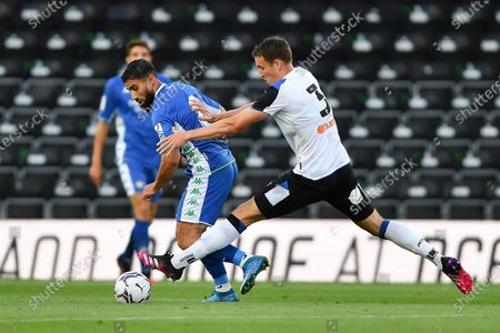 Craig Forsyth of Derby County tackles Nabil Fekir of Real Betis during the Pre-season Friendly match between Derby County and Real Betis Balompi at the Pride Park, Derby on Wednesday 28th July 2021.
