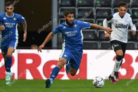 Stock Image of Nabil Fekir of Real Betis in action during the Pre-season Friendly match between Derby County and Real Betis Balompi at the Pride Park, Derby on Wednesday 28th July 2021.