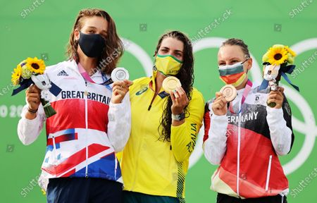 Stock Picture of (from left) Silver medalist Mallory Franklin of Great Britain, gold medalist Jessica Fox of Australia and bronze medalist Andrea Herzog of Germany during the medal ceremony for the Women's Canoe Slalom Final at the Canoeing Slalom events of the Tokyo 2020 Olympic Games at the Kasai Rinkai Park in Tokyo, Japan, 29 July 2021.