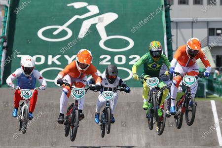 Niek Kimmann of Netherlands, James Palmer of Canada, Nicolas Torres of Argentina, Renato Rezende of Brazil, Helvjis Babris of Latvia and Twan Van Gendt of Nedherlands compete in the Cycling Bmx Racing Men quarterfinals during the Tokyo 2020 Olympic Games at the Aomi Urban Sports Park in Tokyo, Japan, 29 July 2021.
