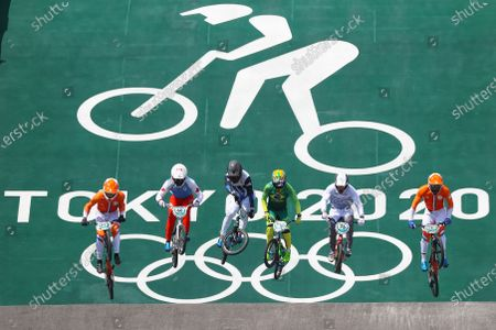 Stock Image of (from left) Niek Kimmann of the Netherlands, James Palmer of Canada, Nicolas Torres of Argentina, Renato Rezende of Brazil, Helvjis Babris of Latvia and Twan Van Gendt of the Netherlands compete in the Cycling Bmx Racing Men quarterfinals during the Tokyo 2020 Olympic Games at the Aomi Urban Sports Park in Tokyo, Japan, 29 July 2021.