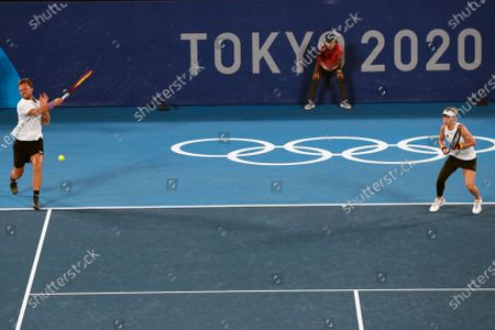 Kevin Krawietz (L) and Laura Siegemund (R) of Germany in action against Novak Djokovic and Nina Stojanovic of Serbia during their Mixed Doubles Tennis quarterfinals match of the Tokyo 2020 Olympic Games at the Ariake Coliseum in Tokyo, Japan, 29 July 2021.