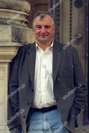 Douglas Adams outside the Oxford Playhouse.
