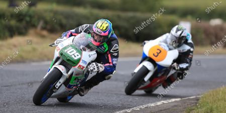 Neil Kernohan leads Michael Dunlop during the 250GP race; Armoy, Antrim, Northern Ireland; Armoy Road Races, The Race of Legends Motor Cycling, Day One.