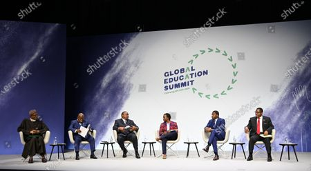 (L-R) President of Nigeria Muhamadu Buhari, President of Ghana Nana Addo Dankwa Akufo-Addo, President of Kenya Uhuru Muigai Kenyatta, host moderator Edwin Macharia, President of Togo Faure Gnassingbe, President of Malawi Lazarus Chakwera attend a joint discussion at the Global Education Summit in London, Britain, 29 July 2021. The UK and Kenya are hosting the Education Summit in London where leaders from world governments have come together to make pledges to support work to help transform education systems in up to 90 countries and territories.