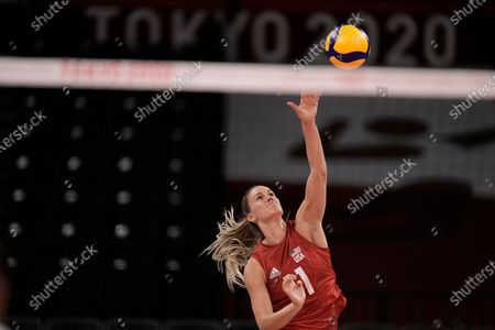 Micha Hancock of the United States serves the ball during a women's volleyball preliminary round pool B match against Turkey, at the 2020 Summer Olympics, in Tokyo, Japan