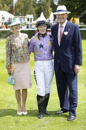 The Magnolia Cup at the QATAR Goodwood. Jockey Thea Gosden Hood with her father John Goden and mother Rachel Gosden Hood.