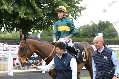 DARK TULIP (2) ridden by Thore Hammer Hansen and trained by Richard Hannon enter the Winners Enclosure after winning The Betstival Season At Mansionbet EBF Maiden Fillies Stakes over 5f (£7,000) at Nottingham Racecourse, Nottingham