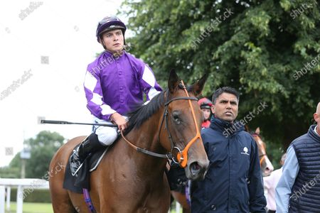 DESERT (2) ridden by Thore Hammer Hansen and trained by Richard Hannon enter the Winners Enclosure after winning The Mansionbet Summer Of Lovely Offers Nursery Handicap Stakes over 6f (£6,500)  at Nottingham Racecourse, Nottingham