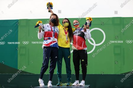 Stock Photo of (210729) - TOKYO, July 29, 2021 (Xinhua) - Gold medalist Jessica Fox (C) of Australia, silver medalist Mallory Franklin (L) of Great Britain, bronze medalist Andrea Herzog of Germany pose for a photo on the awarding ceremony of women's canoe slalom at Tokyo 2020 Olympic Games in Tokyo, Japan, July 29, 2021.