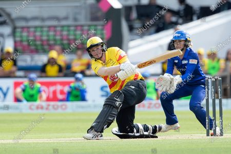 Sammy-Jo Johnson, Trent Rockets doesnÕt quite get enough of the ball and is caught in the deep during London Spirit Women vs Trent Rockets Women, The Hundred Cricket at Lord's Cricket Ground on 29th July 2021