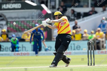 Sammy-Jo Johnson, Trent Rockets goes big over long off during London Spirit Women vs Trent Rockets Women, The Hundred Cricket at Lord's Cricket Ground on 29th July 2021